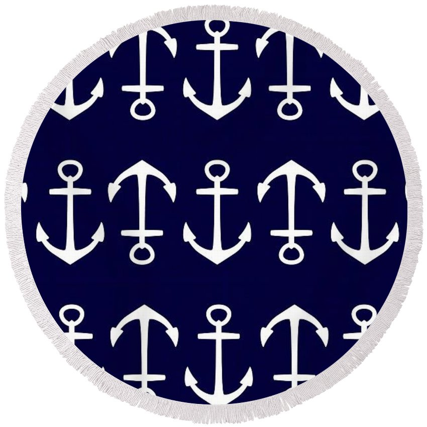 Anchor Round Beach Towel featuring the digital art Anchor by Chastity Hoff