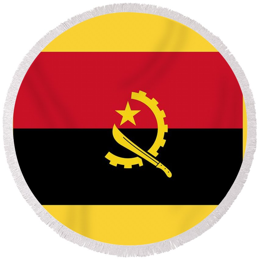 Flag Round Beach Towel featuring the digital art Angola Flag by Frederick Holiday