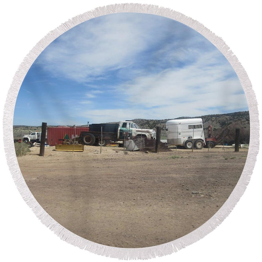 Antique Round Beach Towel featuring the photograph Antique Chevrolet Truck by Frederick Holiday