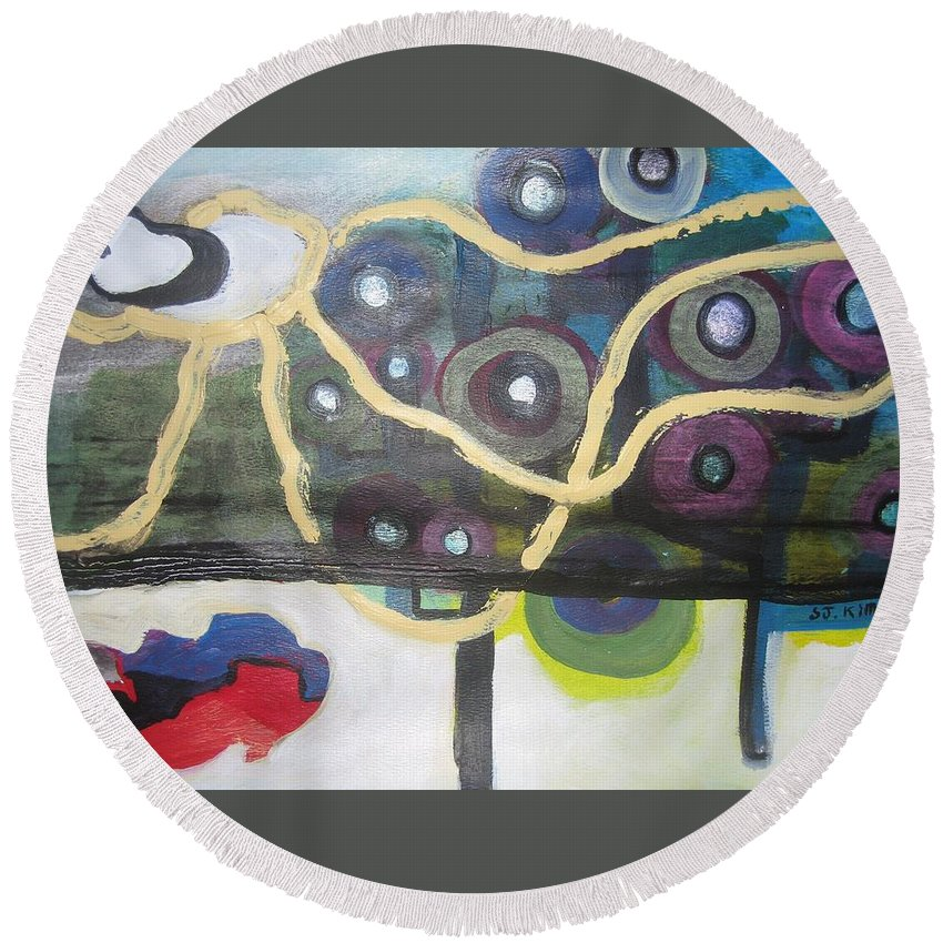 Abstract Contemporary Apple Tree Sun Plant Outdoor Blue Round Beach Towel featuring the painting Apple Trees by Seon-Jeong Kim