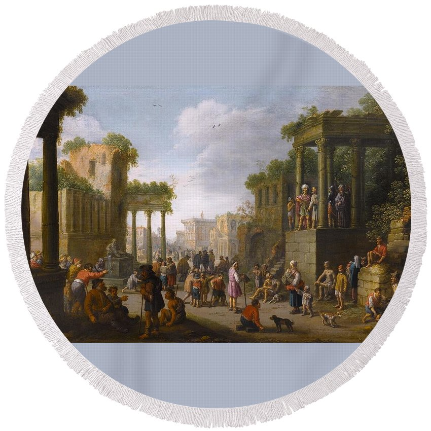 Joost Cornelisz Droochsloot (utrecht 1586 - Utrecht 1666) Round Beach Towel featuring the painting Architectural Ruin With A Crowd by MotionAge Designs