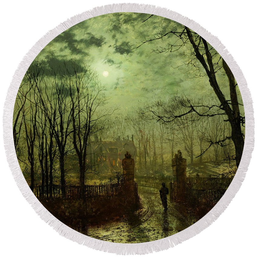 Grimshaw Round Beach Towel featuring the painting At The Park Gate by John Atkinson Grimshaw