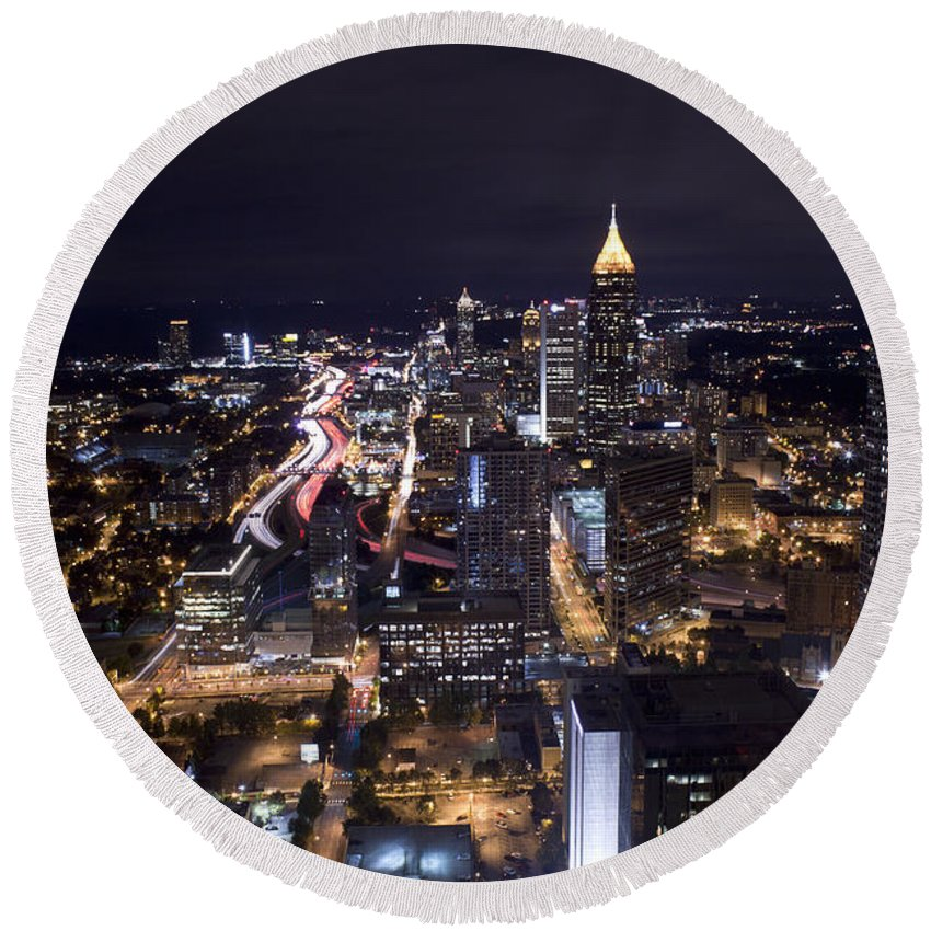 Skyline Round Beach Towel featuring the photograph Atlanta Georgia - Evening Commute by Anthony Totah
