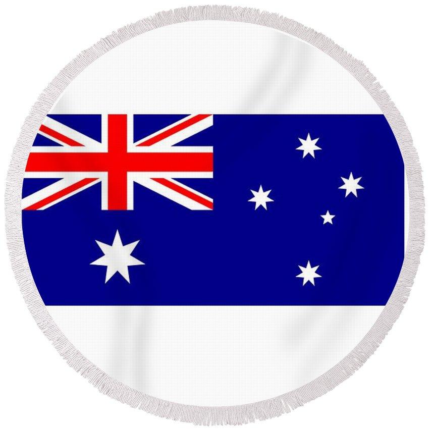 Flag Round Beach Towel featuring the digital art Australia Flag by Frederick Holiday