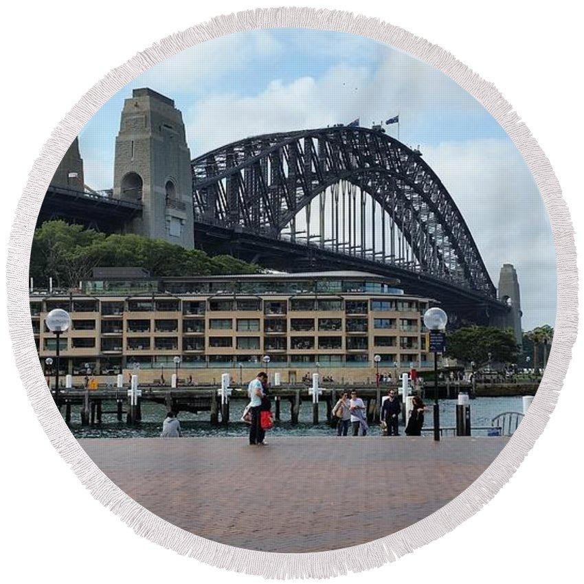 Australia Round Beach Towel featuring the photograph Australia - Sydney Harbour Bridge On Circular Quay by Jeffrey Shaw