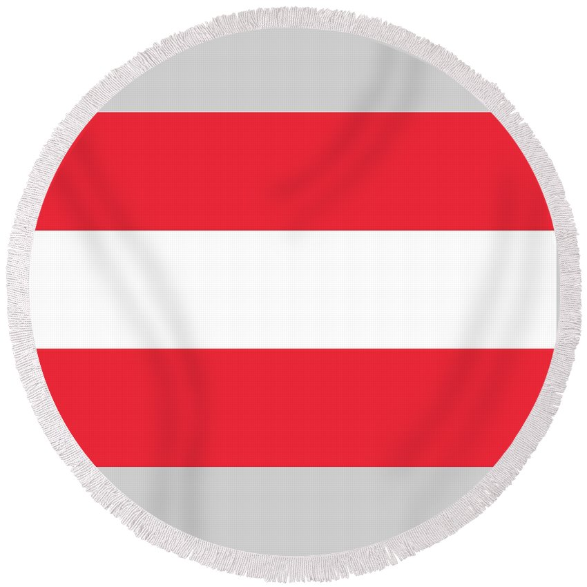 Flag Round Beach Towel featuring the digital art Austria Flag by Frederick Holiday
