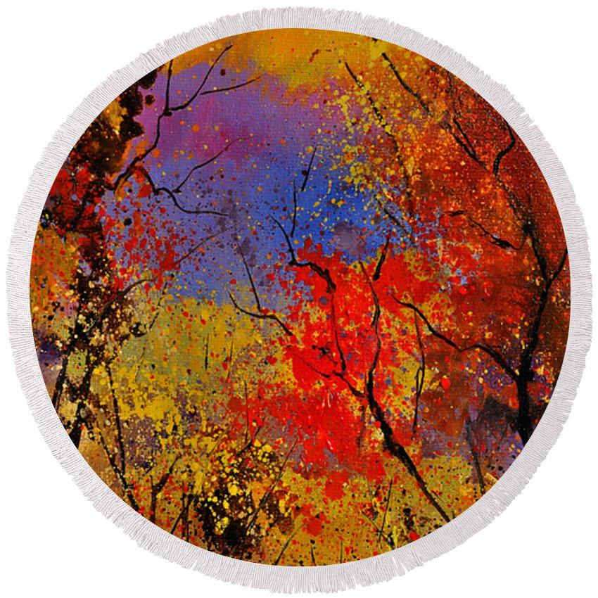 Landscape Round Beach Towel featuring the painting Autumn Colors by Pol Ledent