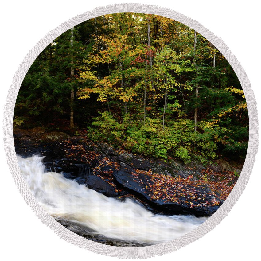 Autumn Round Beach Towel featuring the photograph Autumn In Arrowhead Provincial Park by Maxim Images Prints