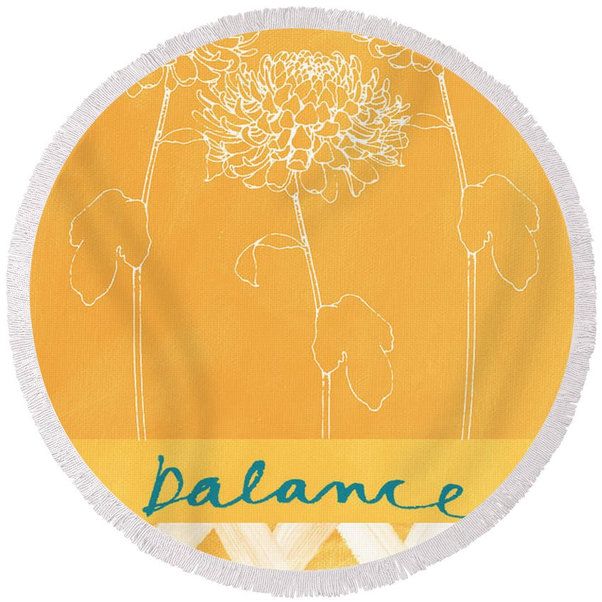Balance Round Beach Towel featuring the painting Balance by Linda Woods