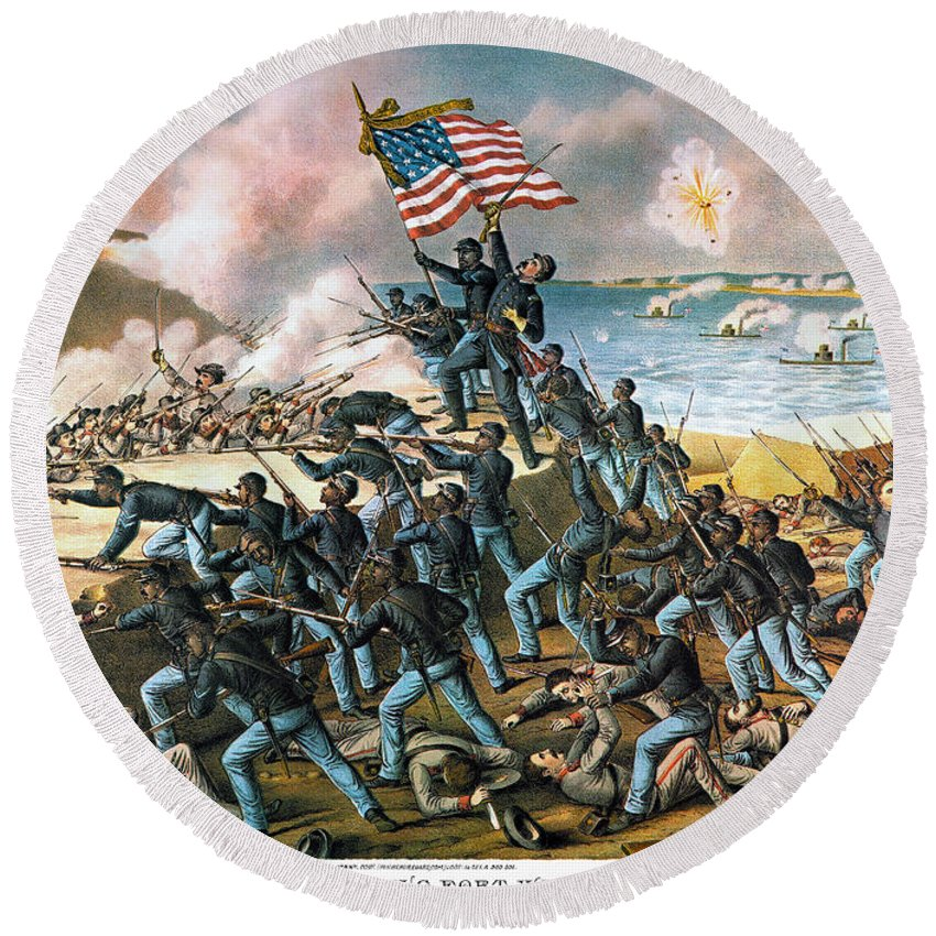 1863 Round Beach Towel featuring the photograph Battle Of Fort Wagner, 1863 by Kurz and Allison