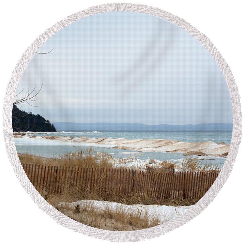 Lake Michigan Round Beach Towel featuring the photograph Beach And Ice by Linda Kerkau