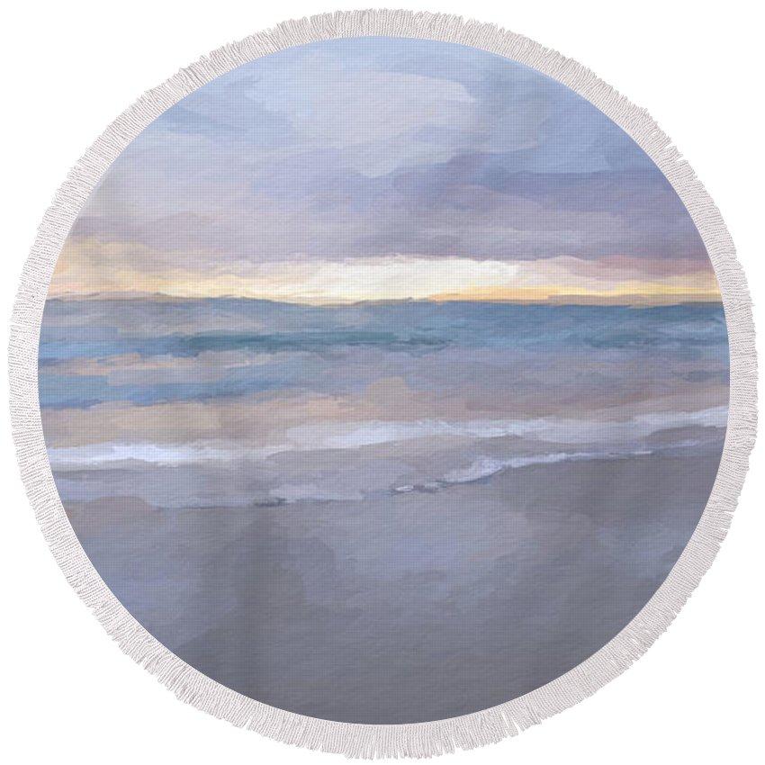 Anthony Fishburne Round Beach Towel featuring the mixed media Beach Sunrise by Anthony Fishburne