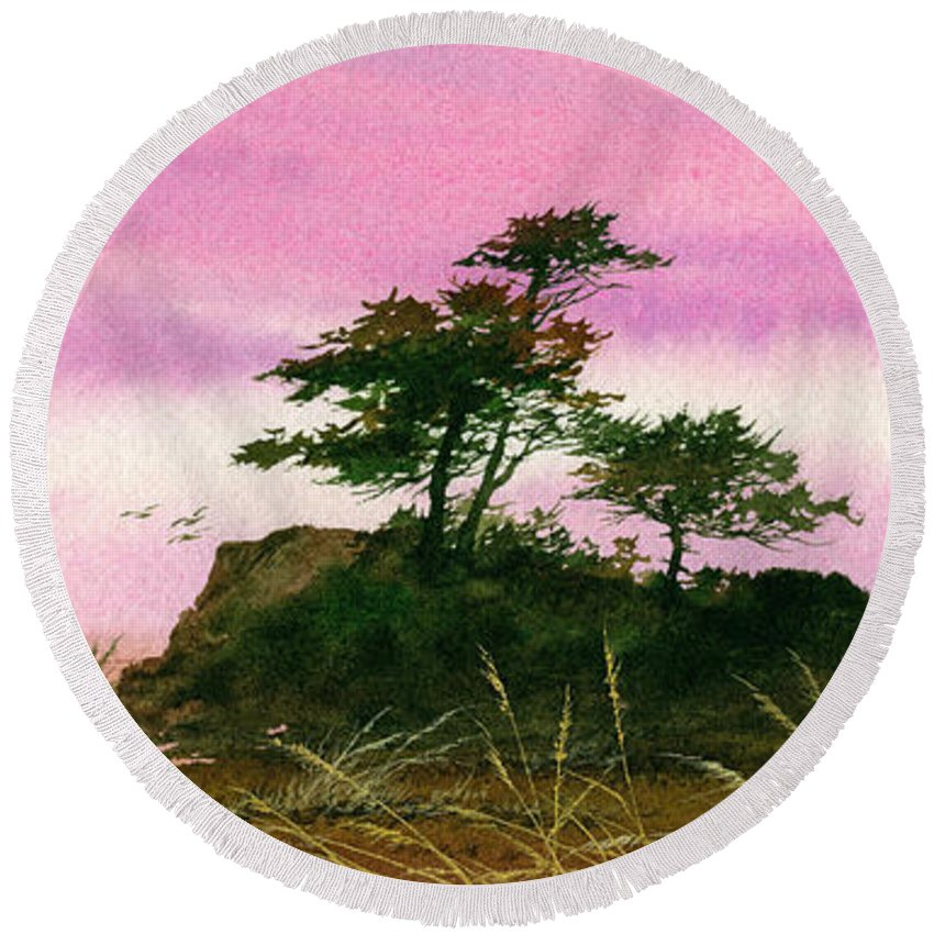 Landscape Print Round Beach Towel featuring the painting Beautiful Shore by James Williamson