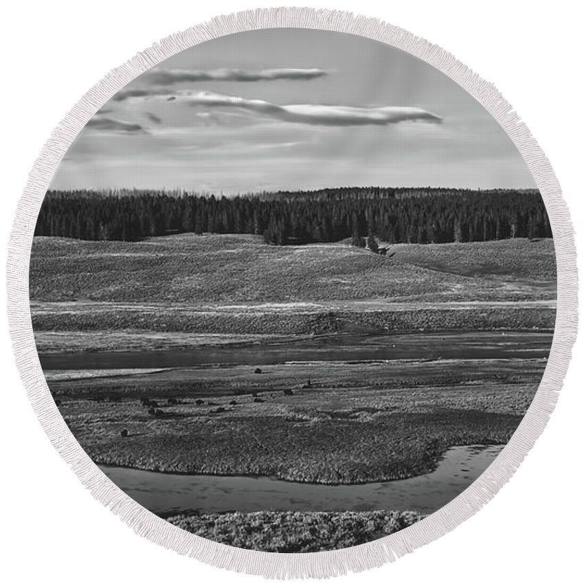 Yellowstone Round Beach Towel featuring the photograph Beautiful Yellowstone by Pixabay