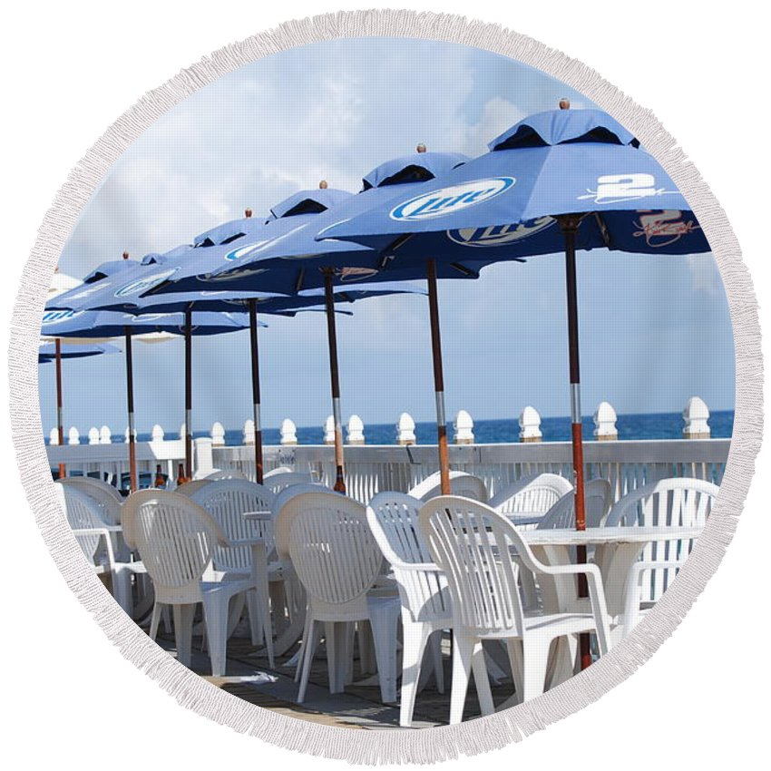Chairs Round Beach Towel featuring the photograph Beer Unbrellas by Rob Hans