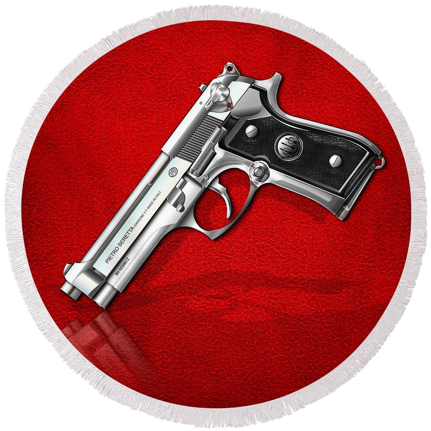 The Armory By Serge Averbukh Round Beach Towel featuring the photograph Beretta 92fs Inox Over Red Leather 2 by Serge Averbukh