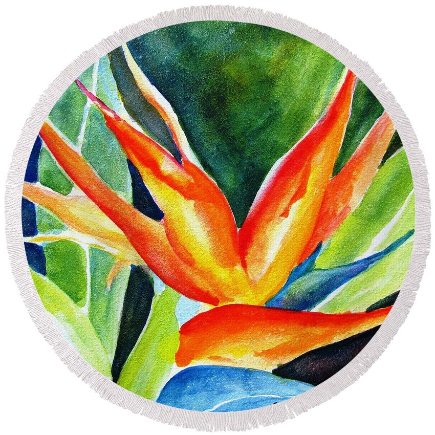Flower Round Beach Towel featuring the painting Bird Of Paradise by Carlin Blahnik CarlinArtWatercolor