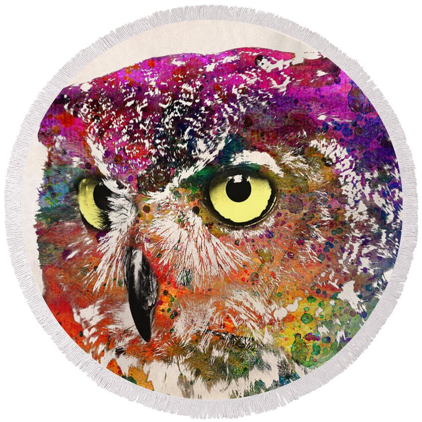 Owl Round Beach Towel featuring the painting Birds by Mark Ashkenazi