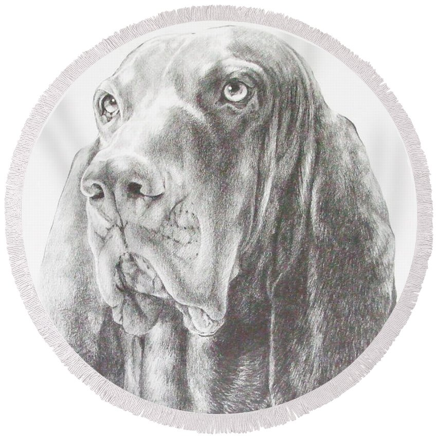 Purebred Dogs Round Beach Towel featuring the drawing Black And Tan Coonhound by Barbara Keith