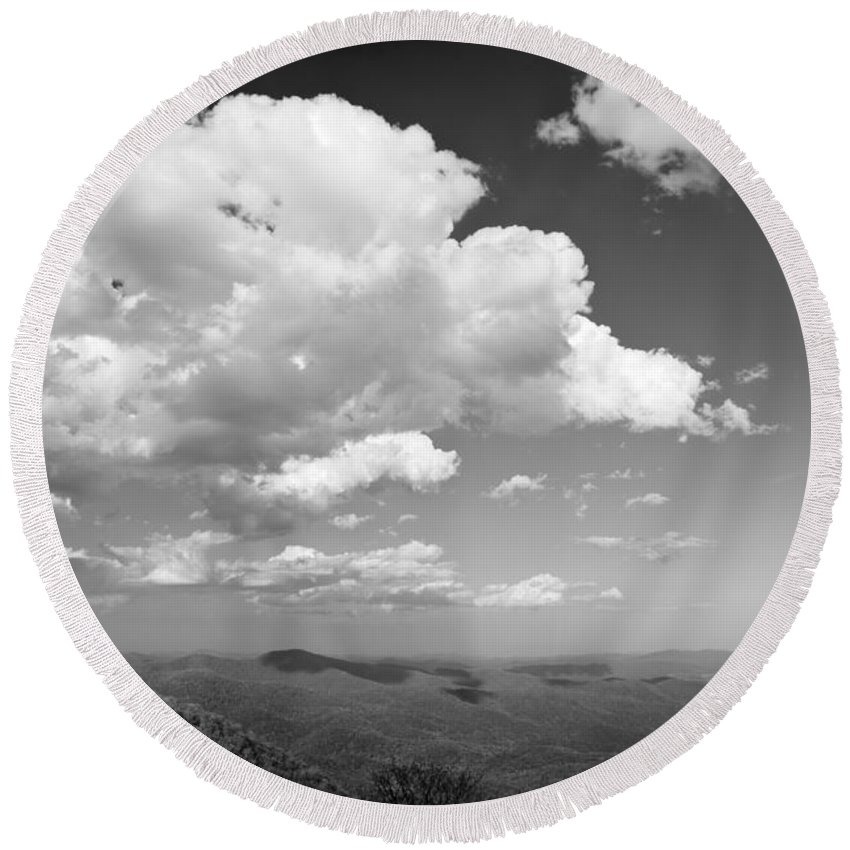 Black And White Round Beach Towel featuring the photograph Black And White Blue Ridge Mountains by Chip Laughton