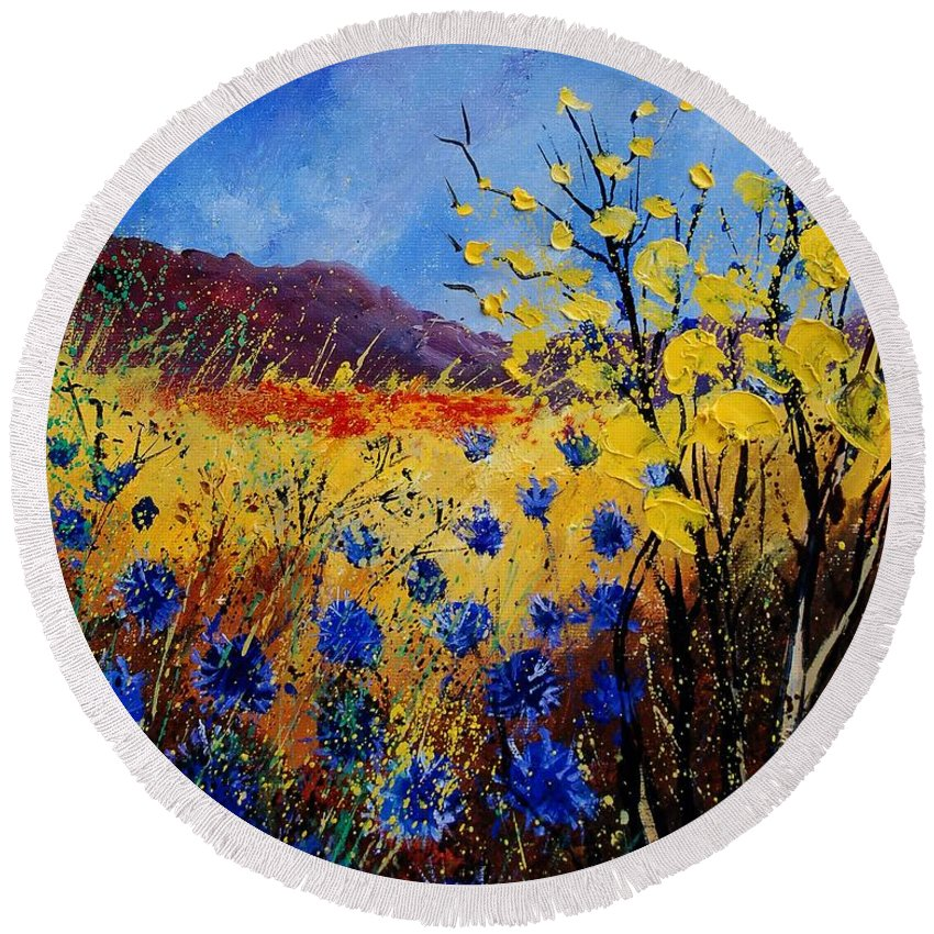 Poppies Flowers Floral Round Beach Towel featuring the painting Blue Cornflowers by Pol Ledent