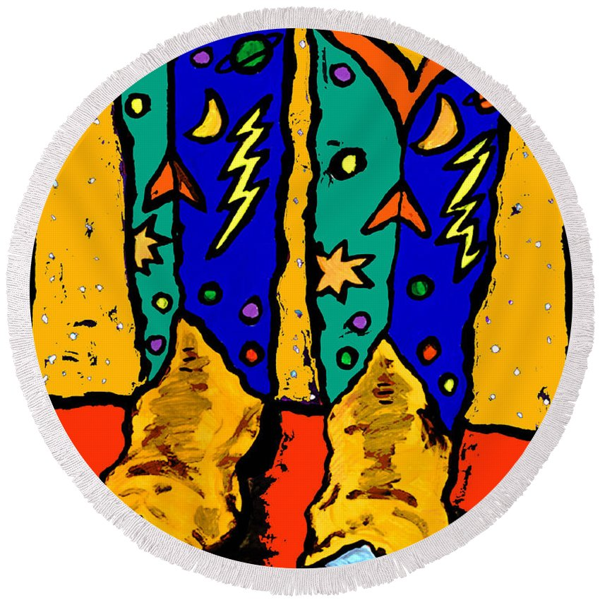 Boots Round Beach Towel featuring the painting Boots On Yellow by Dale Moses