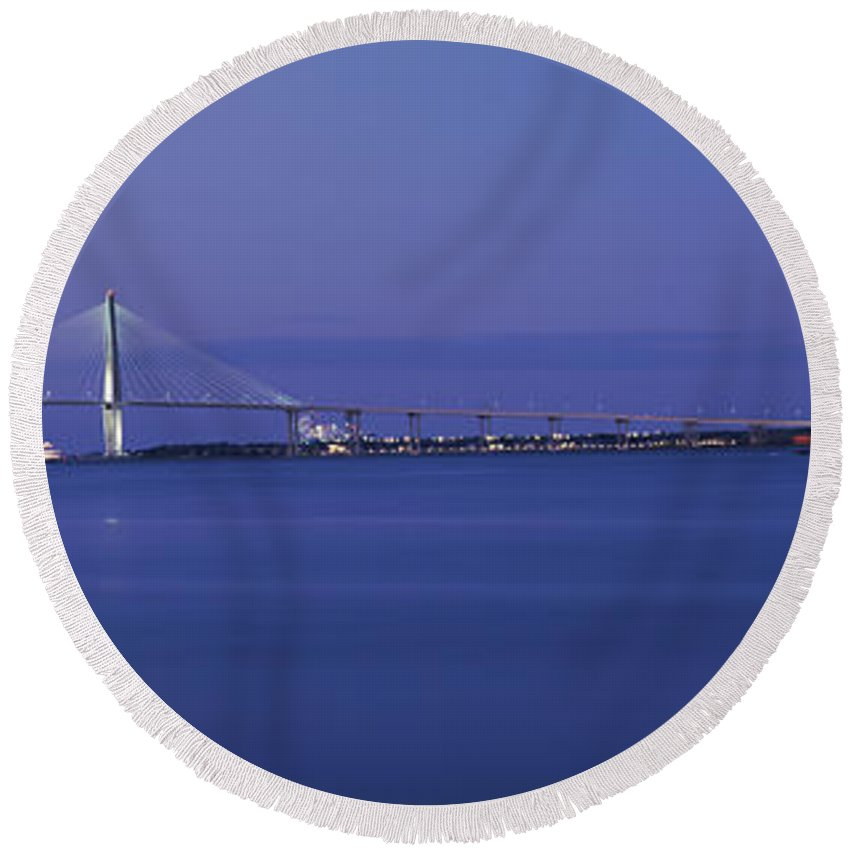 Photography Round Beach Towel featuring the photograph Bridge Across A River, Arthur Ravenel by Panoramic Images