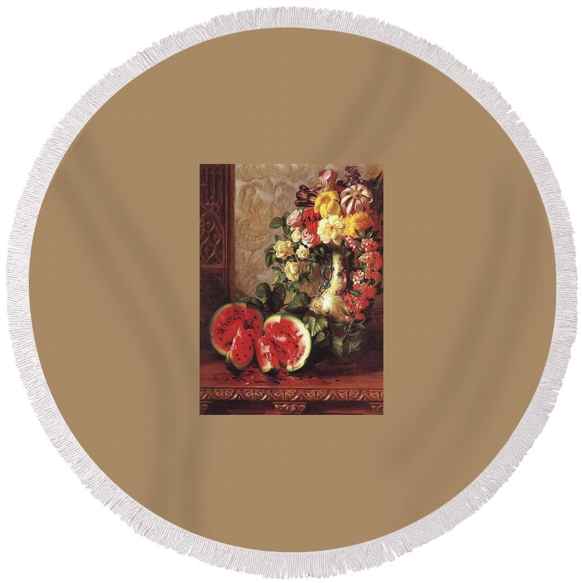 Vase Round Beach Towel featuring the digital art bs- George Henry Hall- Still Life George Henry Hall by Eloisa Mannion