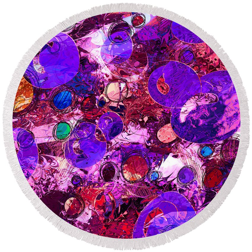 Abstract Round Beach Towel featuring the digital art Bubbles by Rachel Christine Nowicki