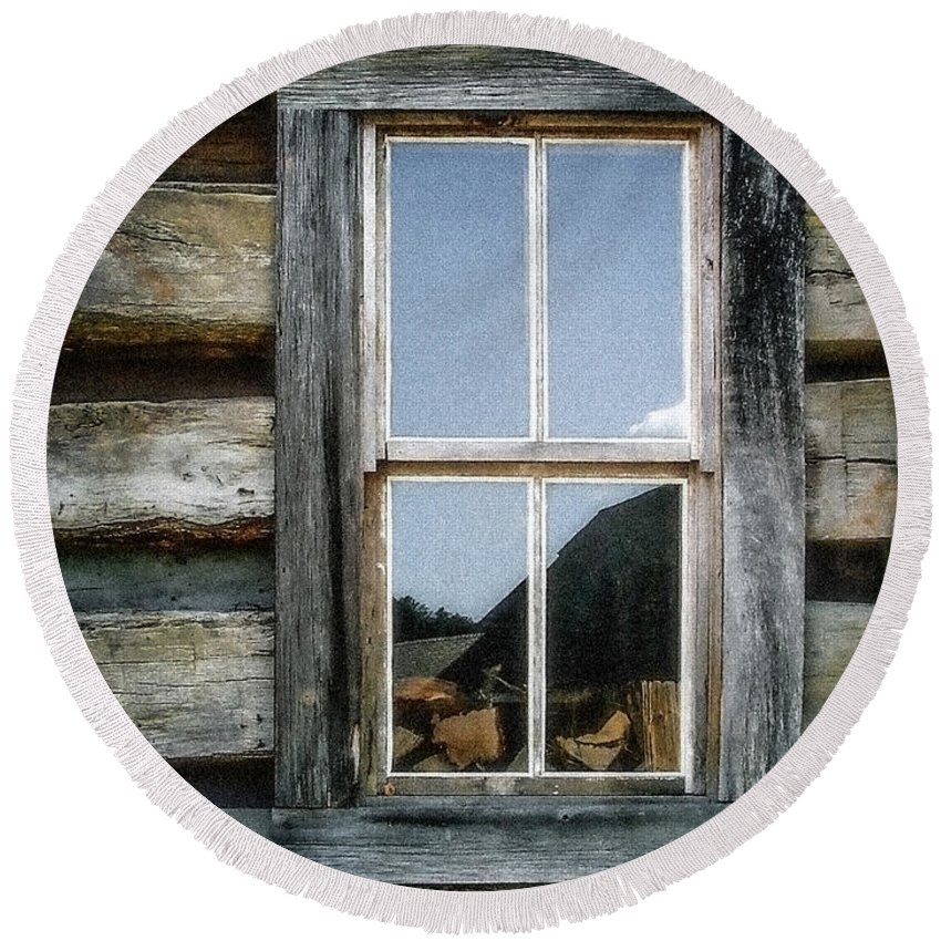 Log Cabin Round Beach Towel featuring the photograph Cabin Window by Todd Blanchard