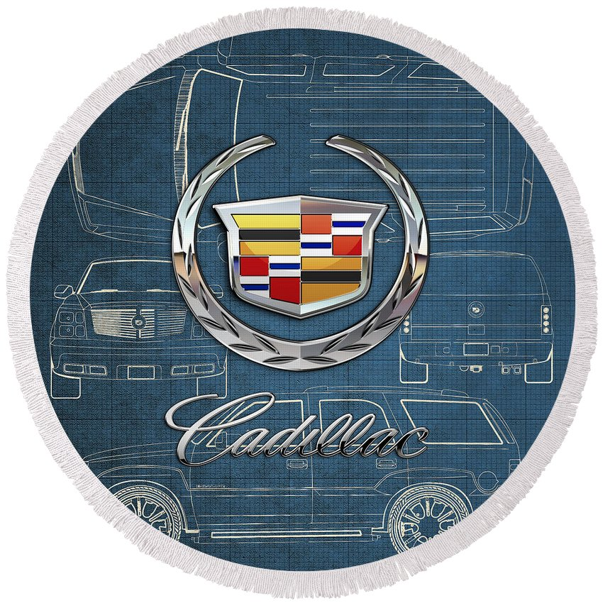 'wheels Of Fortune' By Serge Averbukh Round Beach Towel featuring the photograph Cadillac 3 D Badge over Cadillac Escalade Blueprint by Serge Averbukh