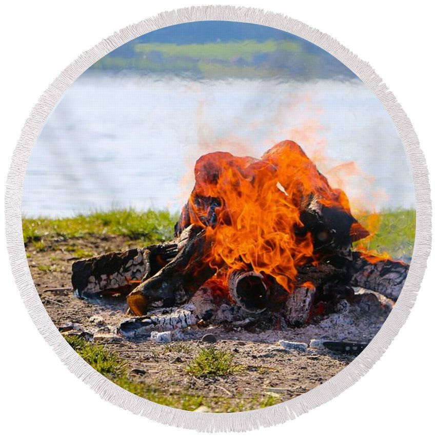 Fire Round Beach Towel featuring the photograph Camp Fire by FL collection