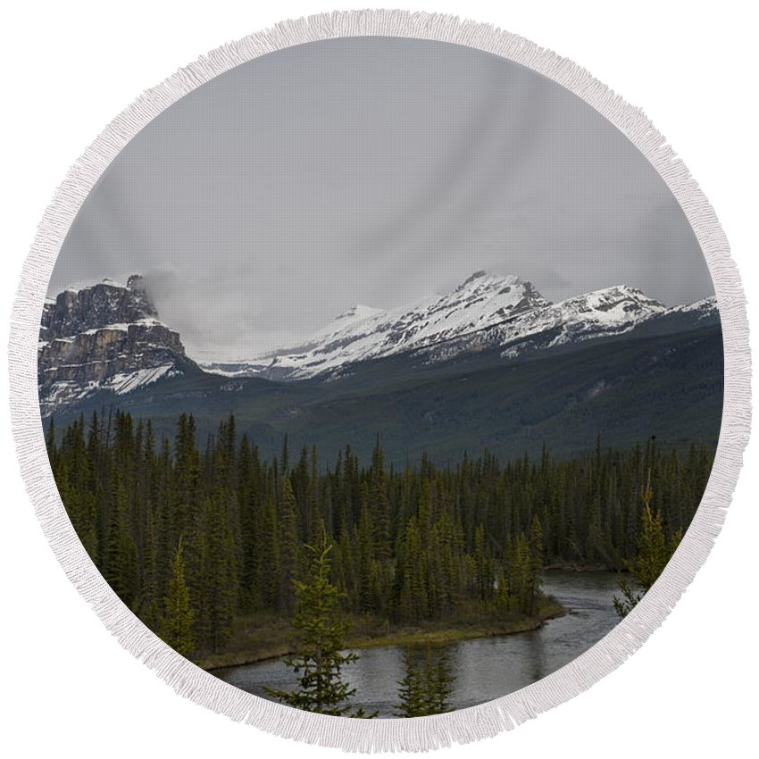 Mountains Round Beach Towel featuring the photograph Canadian Rockies by David Arment