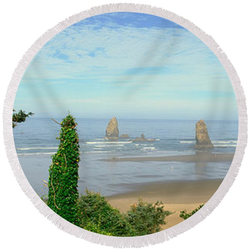 Photography Round Beach Towel featuring the photograph Cannon Beach, Oregon by Panoramic Images