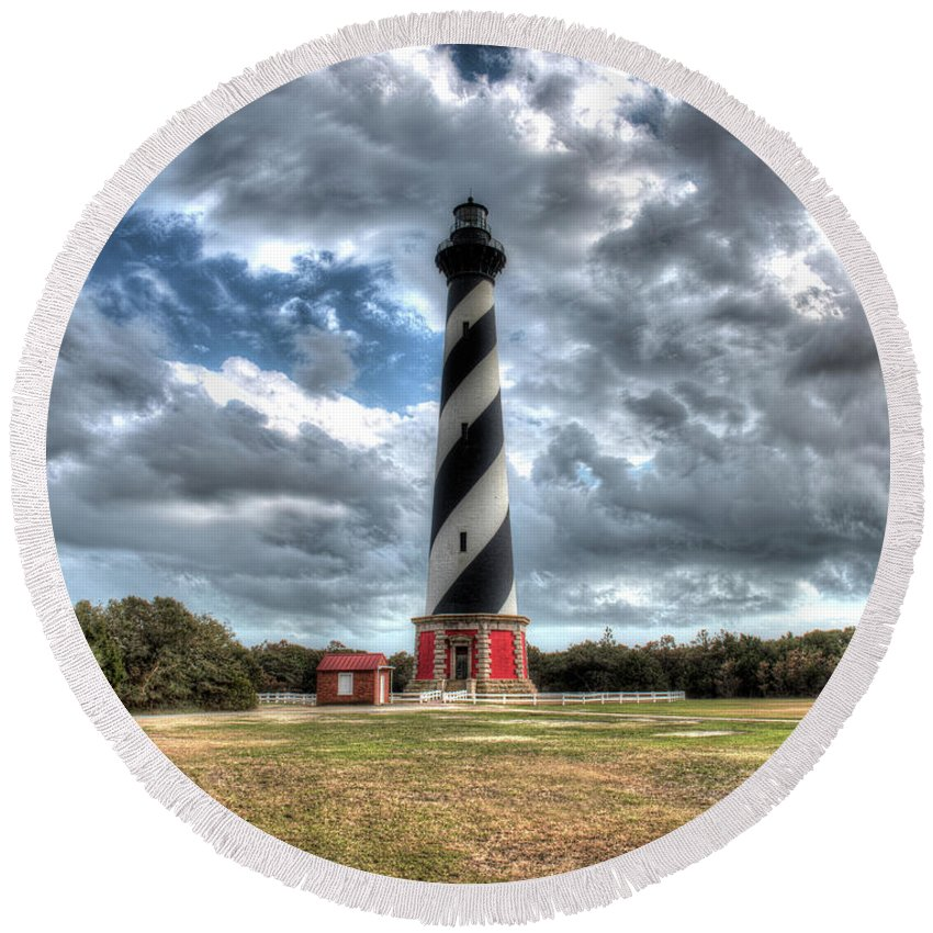 Currituck Beach Round Beach Towel featuring the photograph Cape Hatteras Lighthouse, Buxton, North Carolina by Greg Hager