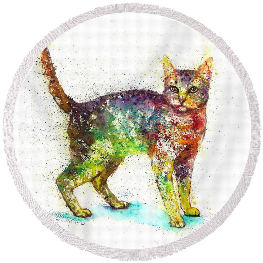 Cat Painting Round Beach Towel featuring the painting Cat fantasy by Natalja Picugina