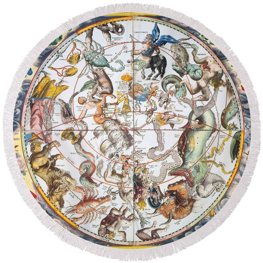 1660 Round Beach Towel featuring the photograph Celestial Planisphere, 1660 by Granger