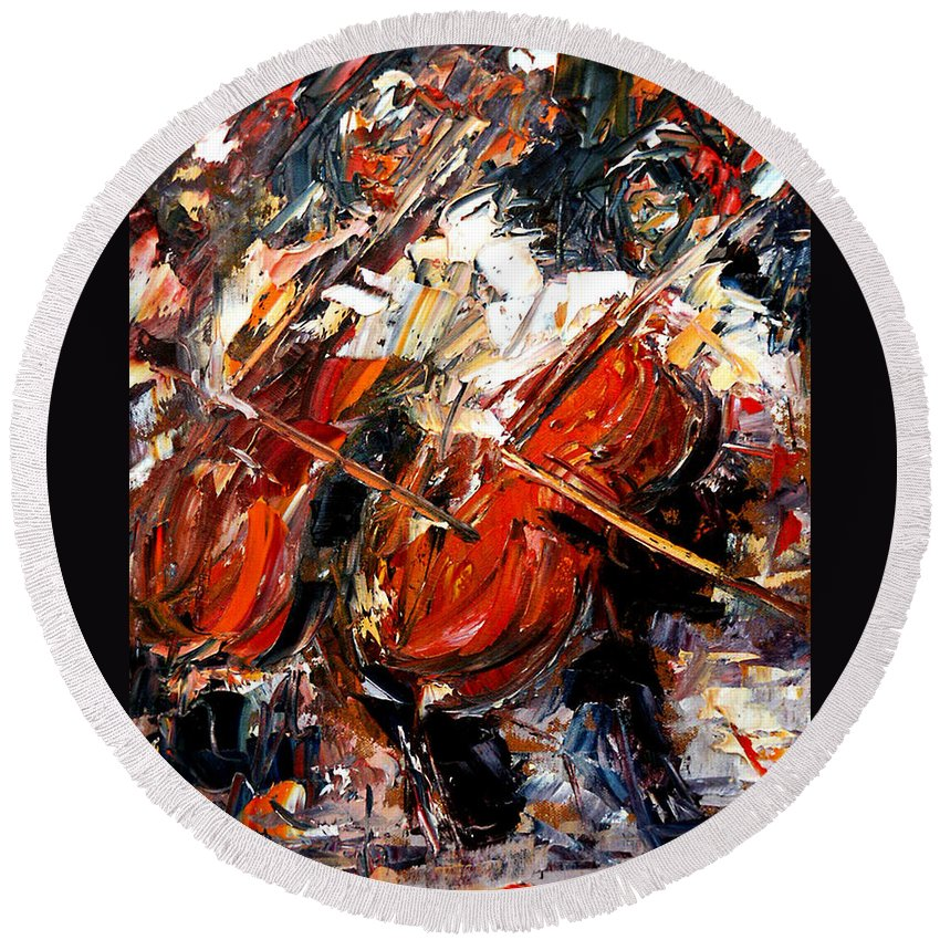 Music Round Beach Towel featuring the painting 2 Cellos by Debra Hurd