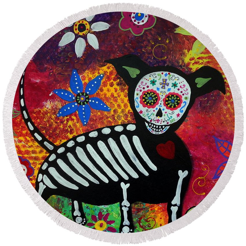 Chihuahua Round Beach Towel featuring the painting Chihuahua Day Of The Dead by Pristine Cartera Turkus