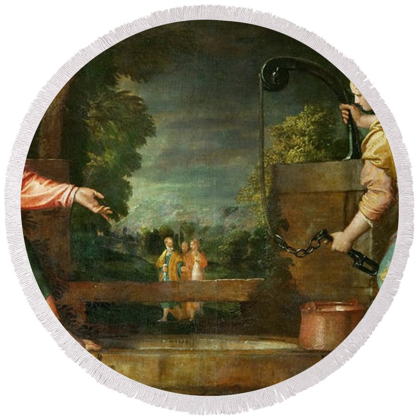 Christ Round Beach Towel featuring the painting Christ And The Samaritan Woman At The Well by Paolo Veronese