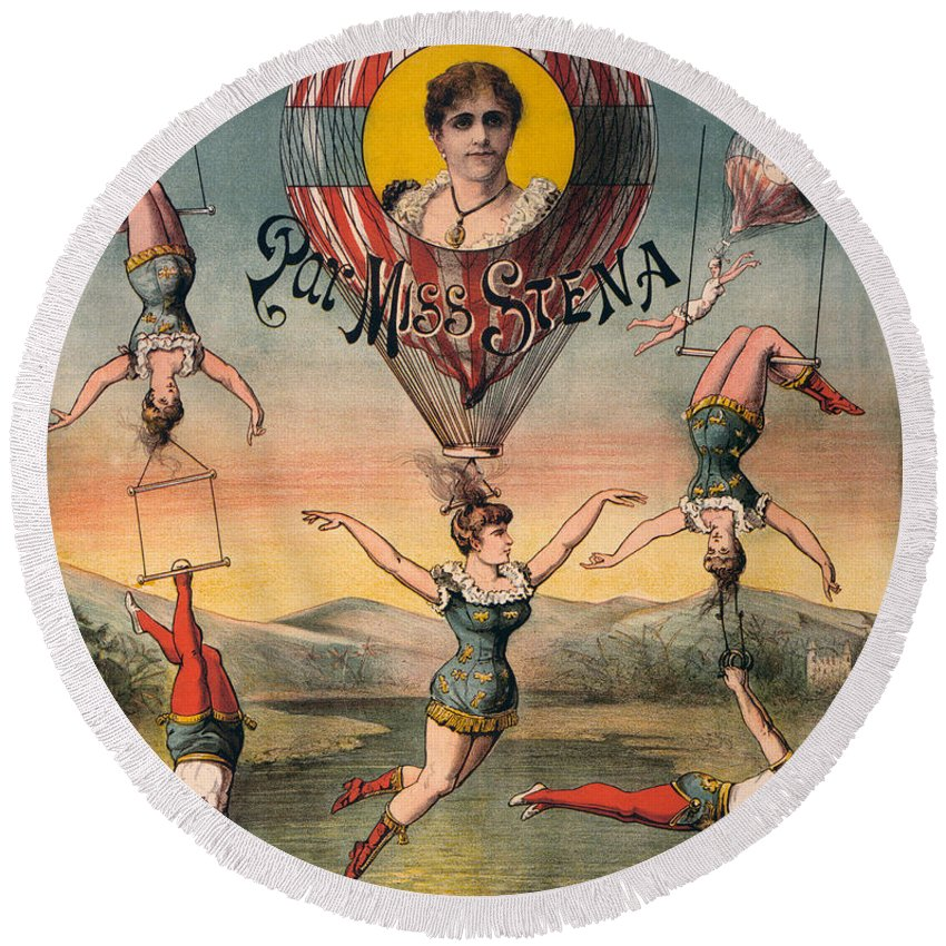 1890 Round Beach Towel featuring the photograph Circus Poster, C1890 by Granger