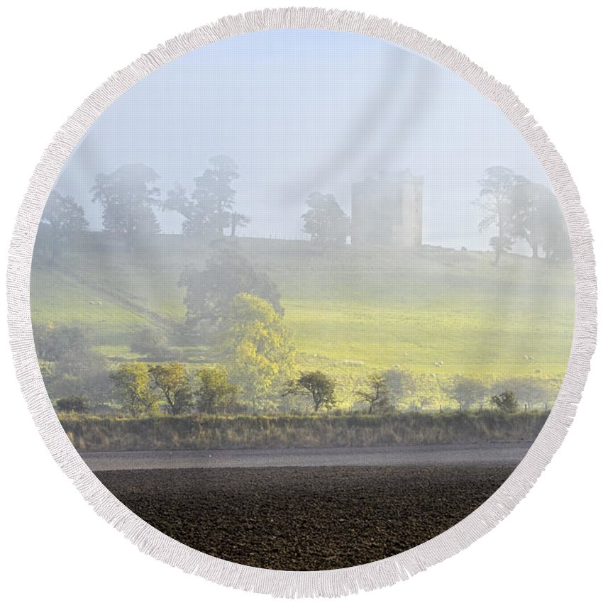 Sony Round Beach Towel featuring the photograph Clackmannan Tower by Jeremy Lavender Photography