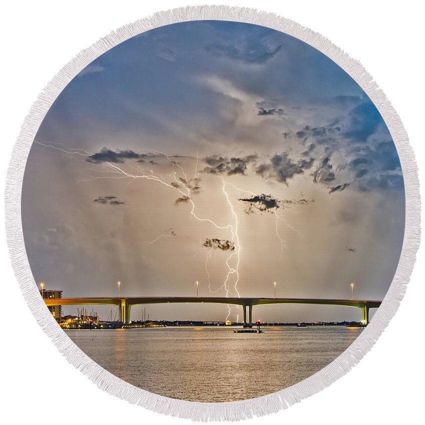 Blues Round Beach Towel featuring the photograph Clearwater Memorial Bridge by Stephen Whalen