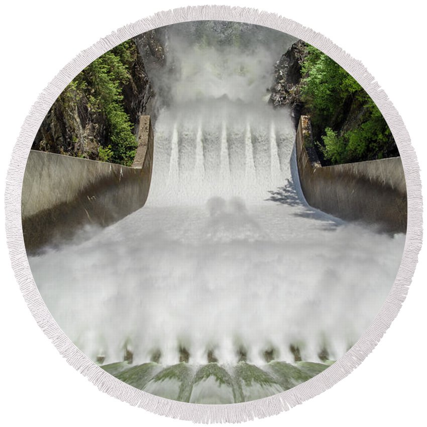 British Columbia Round Beach Towel featuring the photograph Cleveland Dam by Ross G Strachan
