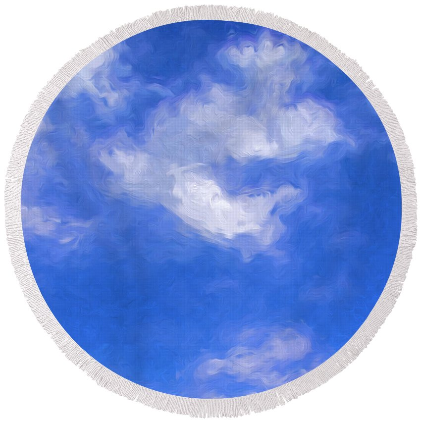 Cumulus Clouds. Round Beach Towel featuring the photograph Clouds by George Robinson