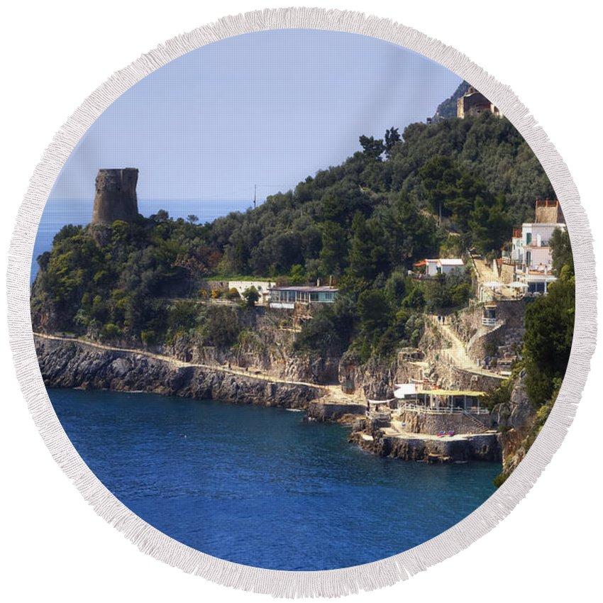 Furore Round Beach Towel featuring the photograph Furore - Coast Of Amalfi by Joana Kruse