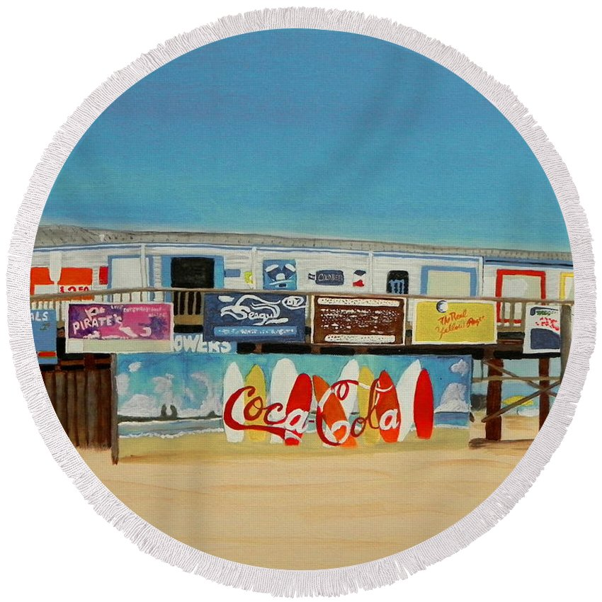 Wgilroy Round Beach Towel featuring the painting Cocoa Beach/cape Canaveral Pier by MGilroy