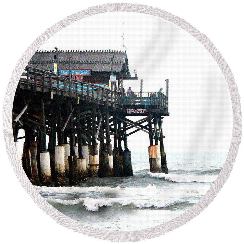 ~ Round Beach Towel featuring the photograph Cocoa Beach Pier by W Gilroy