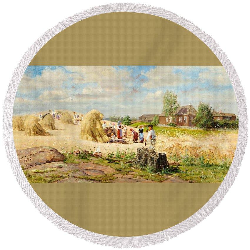 Elias Muukka (1853-1938) Coffee Break Round Beach Towel featuring the painting Coffee Break by Elias Muukka