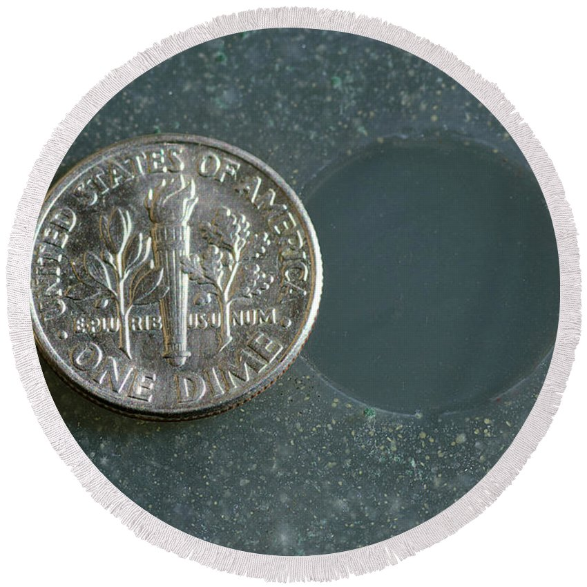 Science Round Beach Towel featuring the photograph Coin Containing Silver Inhibits by Scimat